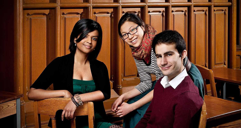 scholarship recipients Jothi Shanmugam, Sara Lee and Salvator Cusimano. Jothi (also in the criminology program)