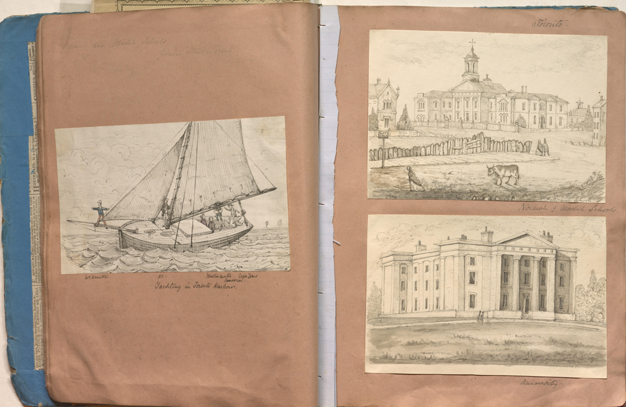An old book is open to a page showing three hand-drawn sketches: a sailing boat and two buildings in fields.